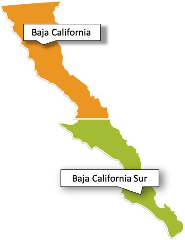 Map of Mexico's Baja Peninsula