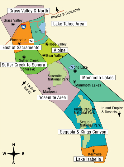 Map of California's Sierras and Gold Country tourist area
