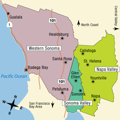 Map of California's Wine Country