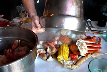 Seafood boil dinner at the Cracked Crab in Pismo Beach, CA