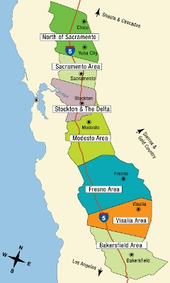 California Tourist Map - Central Valley