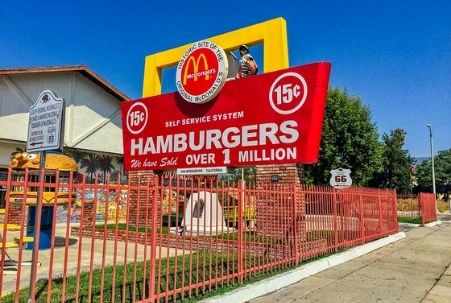 The first McDonald's, located in San Bernardino, CA on Historic Route 66