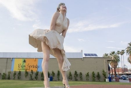 """The """"Forever Marilyn statue designed by Seward Johnson on the grounds at the Palm Spring Art Museum"""