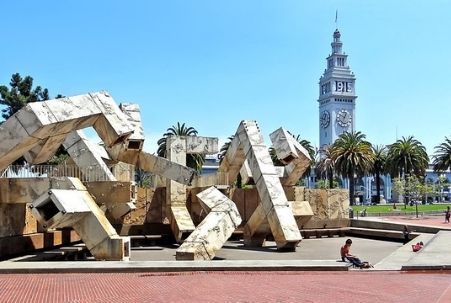Vaillancourt Fountain with San Francisco Ferry Building