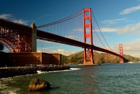 View of the Golden Gate Bridge from Fort Point in San Francisco
