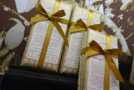 Wrapped chocolate bars from Dandelion Chocolate in San Francisco.